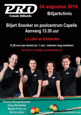 Stichting PRO Female Billiards - Biljartclinic Capelle - Therese Klompenhouwer - Daisy Werdekker - Mirjam Pruim - Karina Jetten
